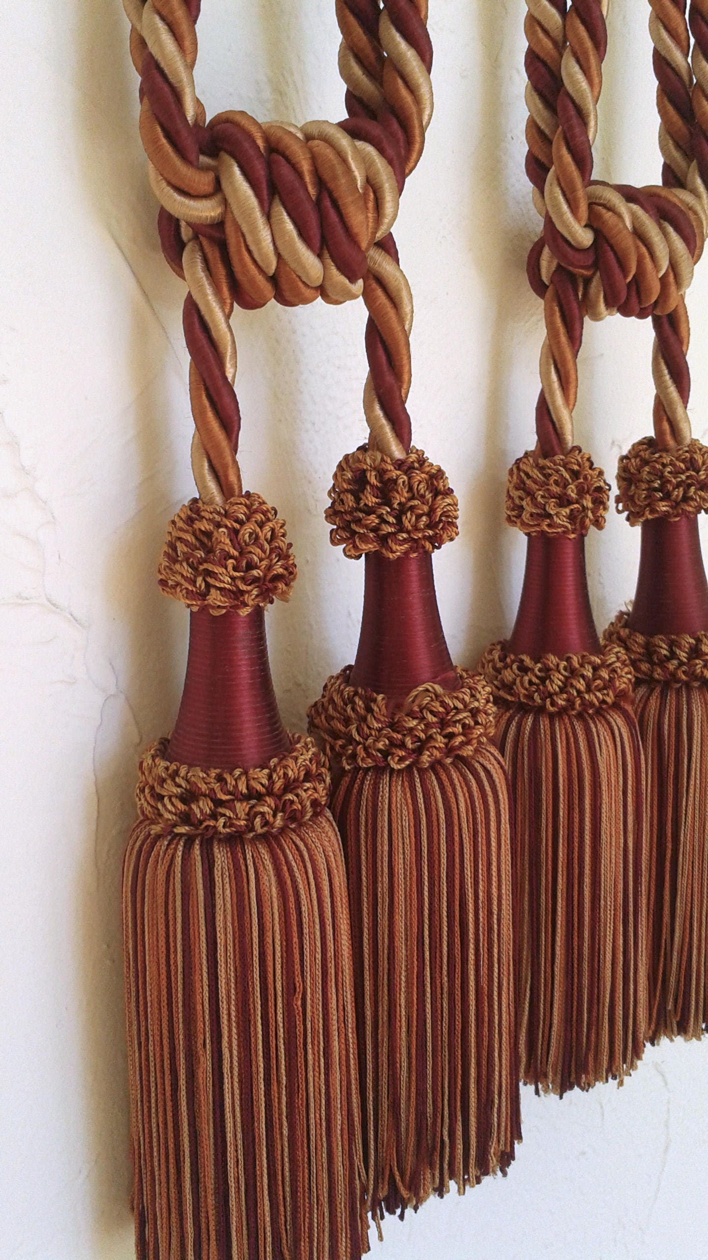 Tassels Curtain Tie Backs French Multi Color Pair New Beautiful from