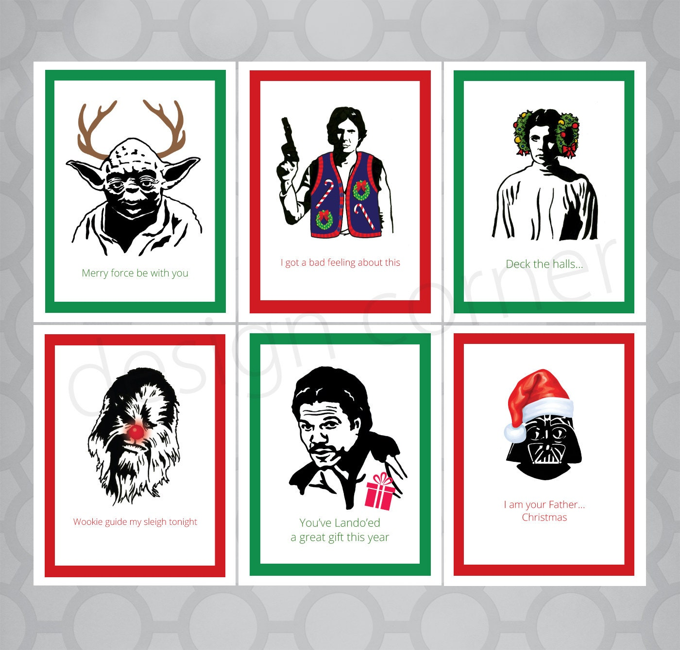Set of 6 Funny Illustrated Star Wars Christmas Cards