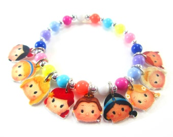 Tsum Tsum Princess Charm Bracelet, Tsum Tsum Princess Jewelry, Princess Birthday, Princess Party Favors, Princess Necklace
