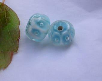 set of 8 blue Murano glass beads
