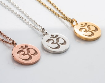 Om necklace, SOLID GOLD om symbol, Om charm, Om yoga charm, Yoga jewelry, Om pendant