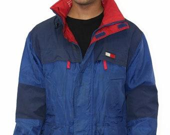 Vintage Tommy Hilfiger Flag Fleece Lined Jacket Size Medium