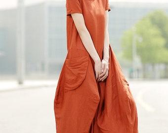Plus size dress, Linen Dress, linen dress for woman, summer dress, woman dress, maxi dress, lone dress, orange dress, plus size dress C351