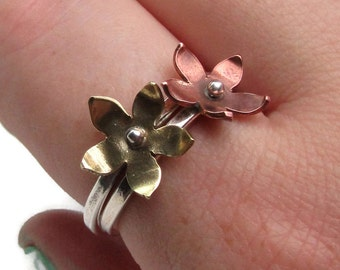 Brass Flower Ring - Sterling Silver and Brass Stacking Ring - Ready To Ship Ring Size 11