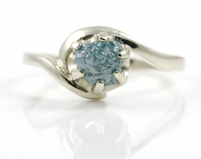 Featured listing image: 14K Gold Engagement Ring - 1.2 Carat Blue Raw Rough Diamond Ring - Uncut Unfinished Diamond - Natural Conflict Free - Swirl Design Ring