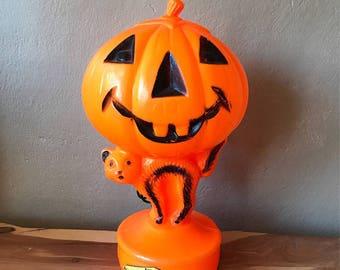 Jack O' Lantern & Black Cat Blow Mold ~ Bayshore Products Blow Mold ~ Vintage Halloween Decor