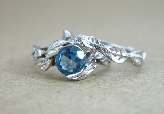 Leaf Engagement Ring Set Blue Topaz Wedding Ring Set Leaf