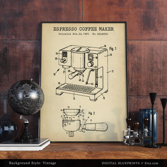 Espresso coffee maker patent print digital download blueprint like this item malvernweather Images
