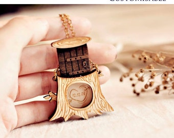 Personalized Message in Tree Locket Necklace - Free Customization for Christmas