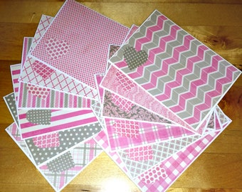Set of 12, Blank Notes, Handmade, Cards, Pink and Gray, Feminine Patterns, Stationery, Girls, Hearts, Gift