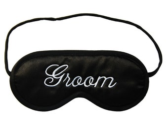 Groom Sleep Mask, wedding night eyemask, husband black and white sleeping eye mask, gift under 20 for groom, honeymoon lingerie, choose silk