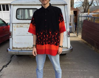 Vintage flame button up