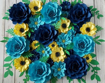Paper Flowers - Wedding - Photo Prop - Backdrop - Extra Large Flowers - Mix Sizes  - Made To Order - Custom Colors Available