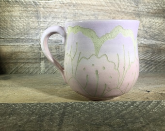 Carved Ceramic Mug/Teacup / Lilac & Light Pink / Hand Painted - READY TO SHIP