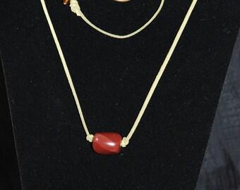 Olive Green Suede Necklace and Bracelet