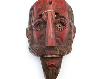 Mexican Bearded Man Mask with Glass Eyes