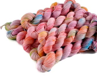 Mini Skeins, Hand Dyed Yarn, Sock Weight, Superwash Merino Wool Yarn, Knitting Yarn, Sock Yarn, Multi-colored, rainbow - Tickled Pink