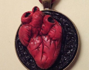 Anatomical heart pendant with chain