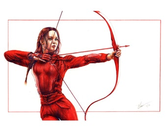 Hunger Games - Katniss Pencil Portrait Print