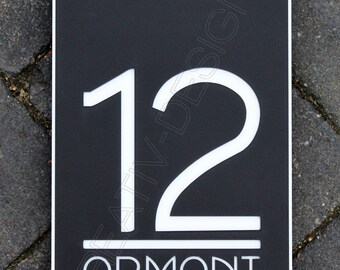 House Number Door Sign Large Portrait Rectangle 250 x 150mm x 6mm Contemporary Bespoke/Customised with Road Name Laser Cut Plaque