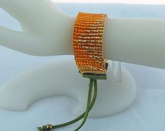 Golden Seed Bead Loomed Stacking Bracelet