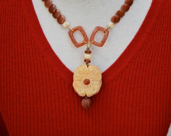 Carnelian Coin Beads with Vintage Carved Bone Focal