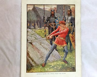 Walter Crane Color Print 1911 Arthur Draws the Sword from the Stone Knights of Round Table