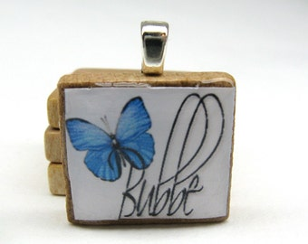 Hebrew Scrabble tile - Bubbe - Grandma or Grandmother - with blue butterfly