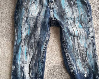 Baby toddler custom distressed splatter paint jeans boy/ girl blue silver winter