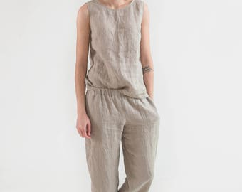 Linen pants // Baggy Unisex Sand Linen Pants // Summer pants // Yoga pants / Harem pants / Linen trousers / Wide linen pants / Natural linen GCNlz