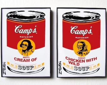 MATCH GAME Brett and Charles Pop Art Soup, original framed set of 2 by Zteven