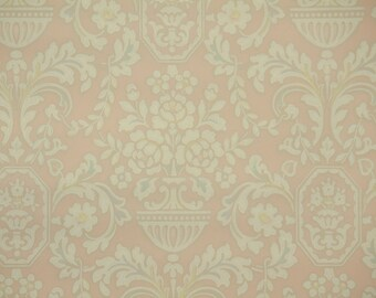 1930s Vintage Wallpaper by the Yard - Pink and Ivory Damask