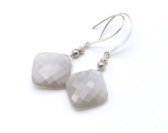 Faceted Grey Gray Geometric AAA Moonstone Minimalist Earrings     Ultra Glam Luxe Gift for Her Under 230 Mom Wife Girlfriend Boutique Style
