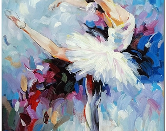 Signed Hand Painted Ballerina Oil Painting On Canvas -  Contemporary Impressionist Ballet Dancer Art ARTIST CERTIFICATE INCLUDED