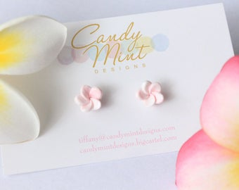 Frangipani Plumeria Studs - Handmade Handcrafted Polymer Clay Earring Studs Pink and White Swirl