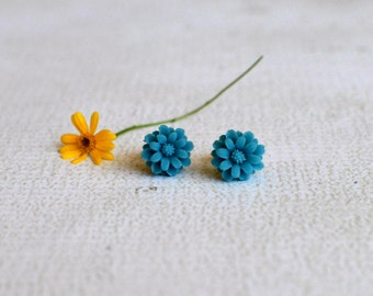 Teal Flower Earring Studs- Titanium Chrysanthemum Earrings- Titanium Flower Studs- Teal Blue Earrings- Hypoallergenic Earrings For Girl