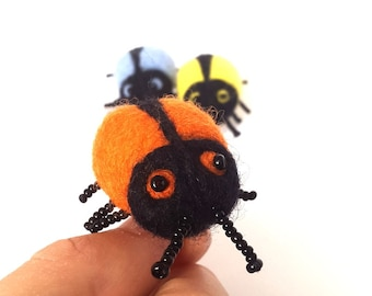 Insect Brooch- Needle felted Bug pin-orange jewelry