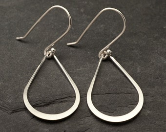 Silver Drop Earrings- Sterling Silver Teardrop Earrings- Silver Dangle Earrings- Handmade Sterling Silver Earrings- Simple Silver Earrings
