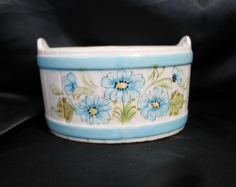 Round Bucket / Barrel Style Ceramic Planter with Blue Flowers by FTD Made in Portugal