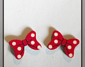 Minnie Mouse Inspired Red And White Hairbow Stud Earrings