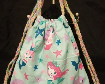 Kids Mermaid Drawstring Bag