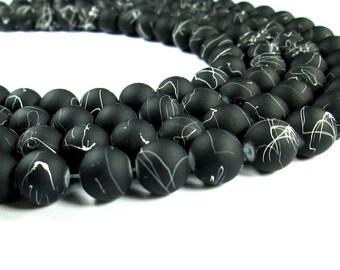 "9mm Black Rubberized Beads / Black with White Splatter Matte Rubber Beads / 14"" Strand"