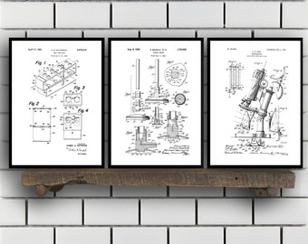 Chemistry Patents Set of 3 Prints, Chemistry Prints, Chemistry Posters, Chemistry Blueprints, Chemistry Art, Chemistry Wall Art