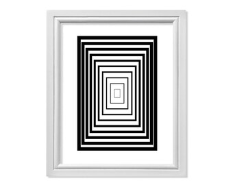 Rectangle Print, Op Art, Op Art Print, Op Art Wall Art, Rectangle Art, Abstract Print, Geometric Art, Abstract Printable, Black Print