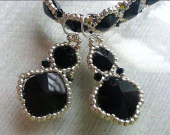 Black Crystal Beadwoven Earrings