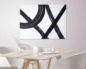 Abstract Art, Extra Large Painting, Extra Large Black and White Abstract Painting, Contemporary Black and White Artwork 36x48