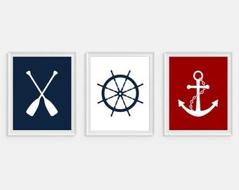 Nautical Art Print, Oar, Ships Wheel, Anchor Art, Set of 3 -  5x7, 8X10, 11x14 Sailboat Decor, Nautical Wall Art, Boys Nursery Art, Boat Art