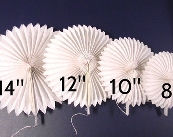8-Pack of White Tissue Paper Fans.  Great for Wedding Decor or Party Decor. Choose 8-inch, 10-inch, 12-inch, 14-inch, or an assortment..