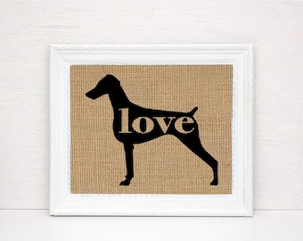 Doberman Pinscher (Natural / Undocked Ears) -  Burlap Dog Breed Wall Art Home Decor Print - Gift for Dog Lovers - Personalized w/Name (101p)