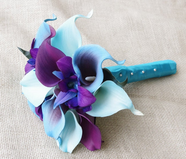 Silk Flower Wedding Bouquet Purple Blue Calla Lilies and